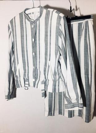 Льняной костюм пиджак-бомбер германия