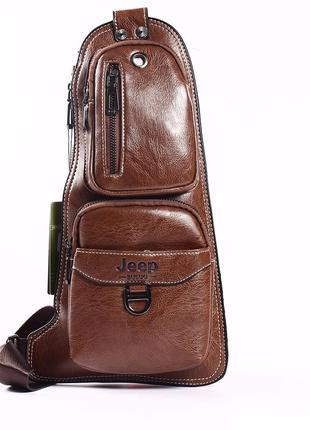 """Качественная мужская сумка """"jeep 2 коричневая"""""""
