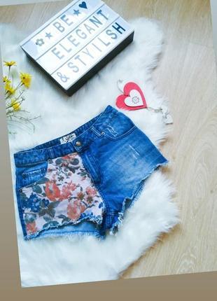 Шорты джинсовые высокая посадка цветочный принт