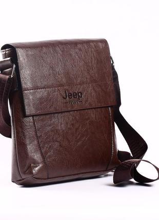 """Вместительная мужская сумка-месенджер коричневая """"jeep medium"""""""