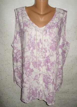 Льняная красивая блуза цветочный принт 28/62-64 размера