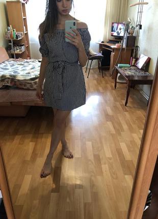 Хлопковое платье в клетку