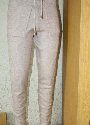Бежевые трикотажные штаны , на высокий рост,s