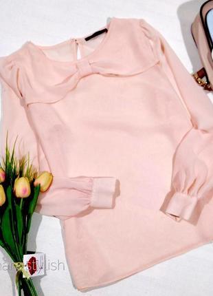 Бежево-нюдовая блузка шифон с бантиком