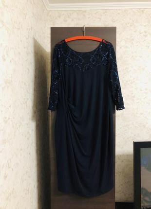 Нарядное трикотажное платье с драпировкой, новое!