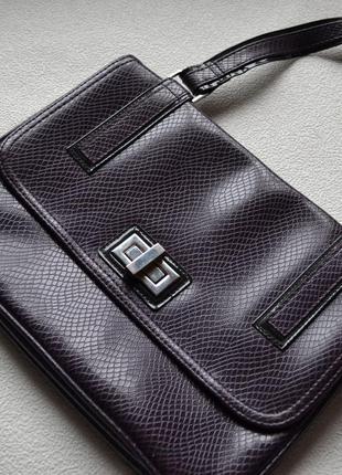 Маленькая трендовая ретро искусственная кожа сумка принт фиолетовая змеиная кожа лаковая