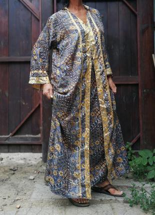 Платье индия этно в индийском стиле с капюшоном сверкающее длинное прямое4 фото