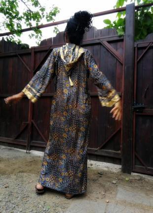 Платье индия этно в индийском стиле с капюшоном сверкающее длинное прямое3 фото