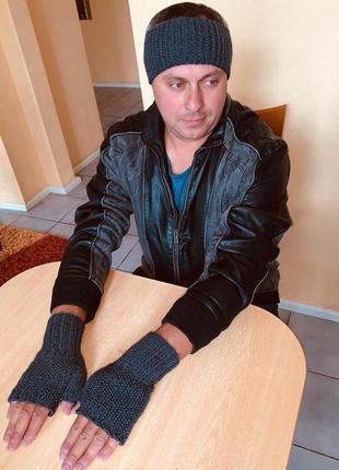 Митенки перчатки мужские без пальцев, повязка на голову - спорт и классика