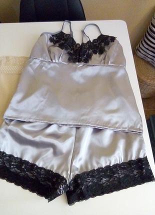 Сексуальная кружевная пижама шорты и топ