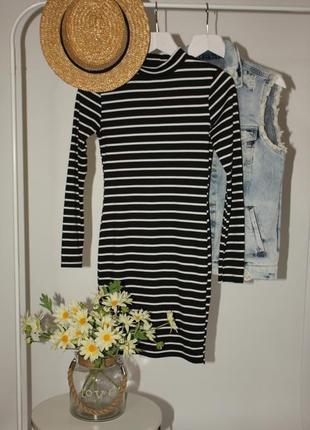 Трикотажное стрейчевое мини платье в полоску с длинным рукавом new look размер м/10/38.