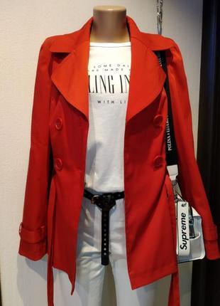Стильный красный плащ трэнч куртка пиджак