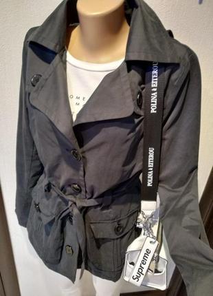 Крутой плащ трэнч куртка пиджак жакет серо-черный брэндовый