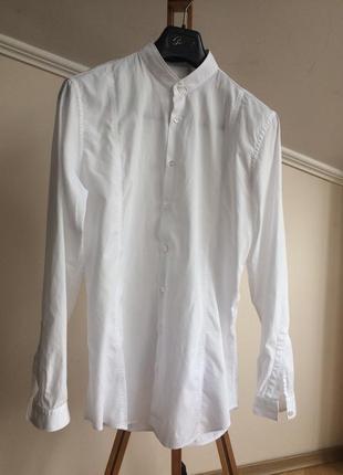 Белоснежная рубашка slim fit,  39 ворот, gucci, italiy
