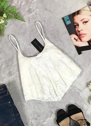 Гипюровый топ в белом цвете  bd1929024 new look