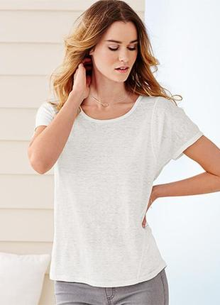 Льняная дышащая белая футболка tchibo германия