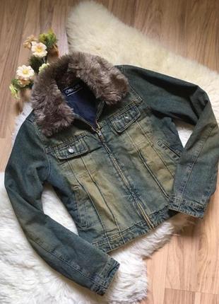 Укороченная джинсовая куртка с мехом пиджак джинс cherokee