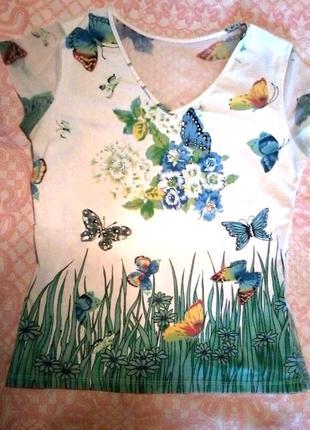 Яркая легкая футболка, спинка и рукава сеточка, размерl-xl (48-50)