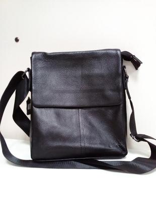 Кожаная сумка мужская (мессенджер) черная