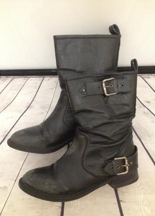 Ботинки кожаные zara в стиле милитари