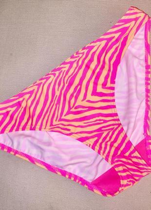 Низ от раздельного купальника бикини плавки трусики цвет жёлтый + ярко-розовый