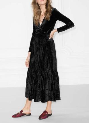 Бархатная юбка черная