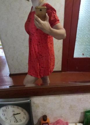 Платье красное поплин