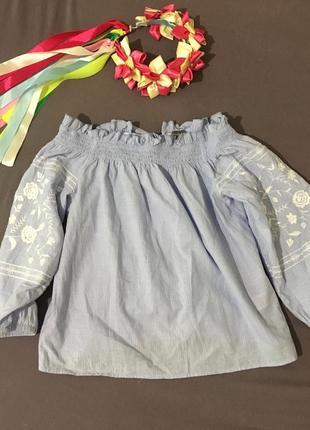 Красивая блуза в полоску рубашка вышиванка с вышивкой на рукавах от примарк