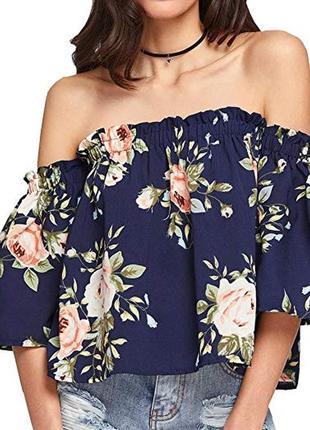 Блуза у квітковий флористичний принт з воланами, відкриті плечі