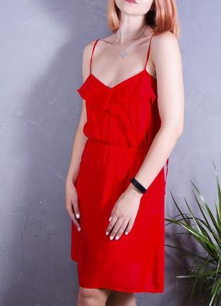 Сарафан на тонких бретелях, летнее платье, красное платье короткое