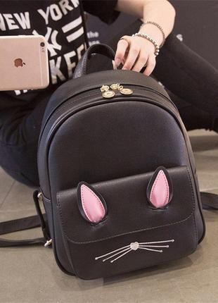 Черный рюкзачок кошечка с ушками