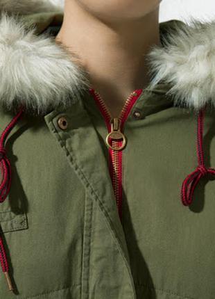 Куртка парка хаки parka with detachable fur collar - jackets - trf - zara