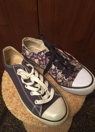 2 за 150! синие джинсовые текстильные кеды конверсы в цветочек летние
