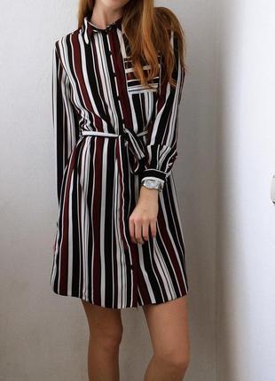 Стильное платье рубашка в полоску new look