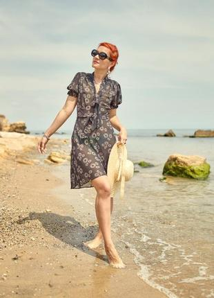 Летнее пляжное платье, туника  под пояс