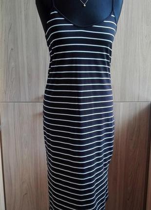 Темно-синее летнее платье майка в полоску с разрезами