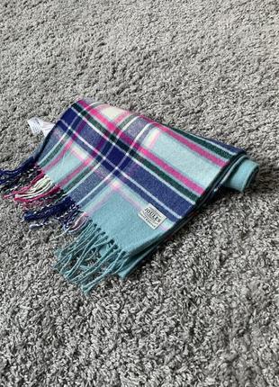 Красивый шарф в клеточку с небесно-голубым цветом от joules