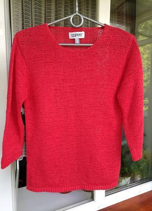 Кофточка, водолазка esprit, красный цвет, рукава 3/4, размер m, s, состояние идеальное