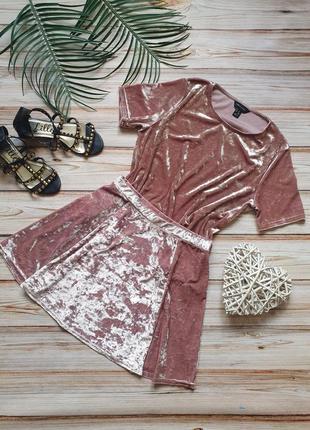 Крутой бархатный велюровый летний комтюм с футболкой и юбкой