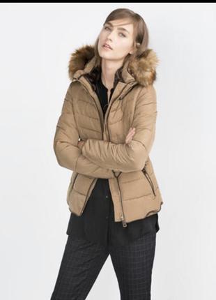 Женская зимняя теплая приталенная куртка с мехом camel beige  zara
