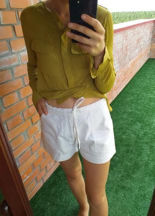 Белые льняные лляні лен льон шорты
