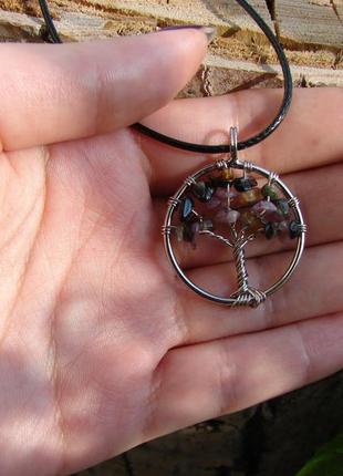 Кулон дерево жизни с натуральным камнем ожерелье с цветным турмалином. цвет серебро2 фото