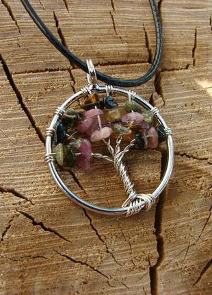 Кулон дерево жизни с натуральным камнем ожерелье с цветным турмалином. цвет серебро3 фото