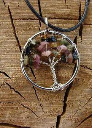 Кулон дерево жизни с натуральным камнем ожерелье с цветным турмалином. цвет серебро1 фото