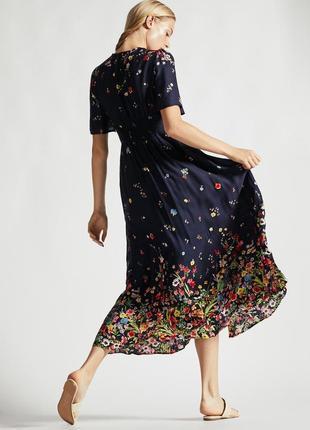 Брендовое синее длинное платье в пол  с разрезом и глубоким декольте цветочный принт oysho2 фото