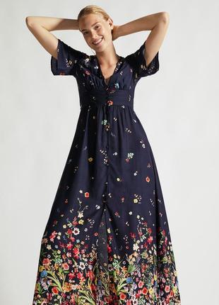 Брендовое синее длинное платье в пол  с разрезом и глубоким декольте цветочный принт oysho3 фото