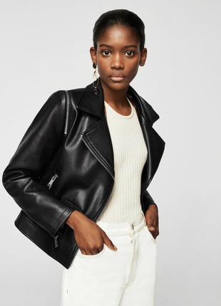 Кожаная куртка mango эко кожа,новая, с бирками; xs/s