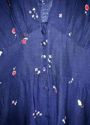 Брендовое синее длинное платье в пол  с разрезом и глубоким декольте цветочный принт oysho6 фото