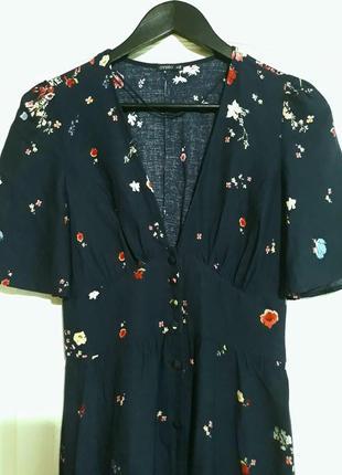 Брендовое синее длинное платье в пол  с разрезом и глубоким декольте цветочный принт oysho7 фото
