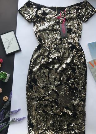 Золотое платье в паетках / золотистое платья миди в пайетках открытые плечи